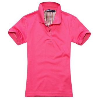 Beads to solid color Short sleeve lettered T-shirt polo shirt (Rose)