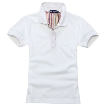 Beads to solid color Short sleeve lettered T-shirt polo shirt (White)