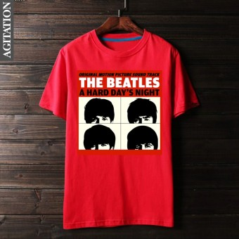 Beatles retro Cotton Four people round neck short sleeved t-shirt (Red)