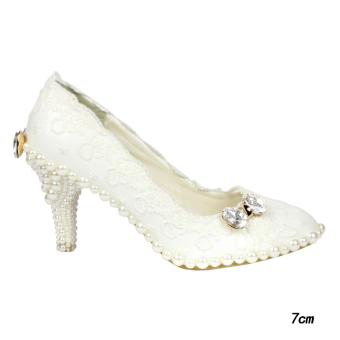 Beautiful white photo shoot wedding veil bride women's shoes wedding shoes (7 cm)