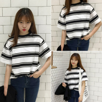 Beishihan Women's Loose Striped Short Sleeve T-Shirt (Size striped [1024 models])