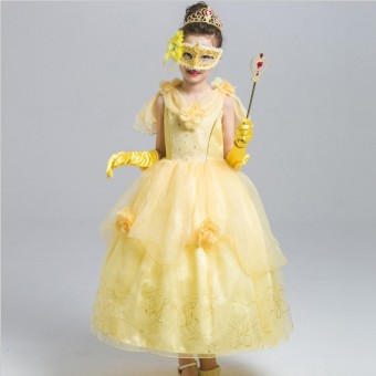 Belle Halloween costumes Tutu dress princess dress (Dress + sleeves + mask to send CROWN scepter) (Dress + sleeves + mask to send CROWN scepter)