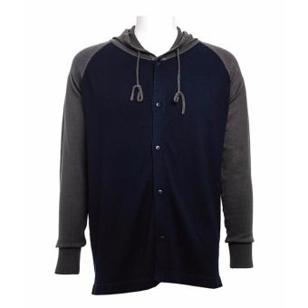 BENCH- IWC0019BU4 Two-Tone Hoodie-Cardigan (Light Gray/ Navy Blue)