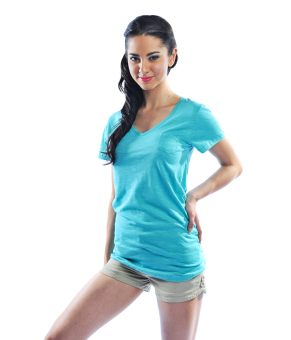Bench V Neck Ladies Undershirt (Aqua Blue)