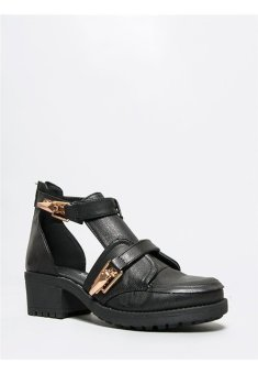 Berca Phoebe Side Cut Out Buckle Ankle Booties (Black)