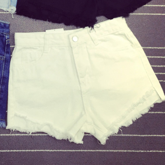 BEST SHOW Women's Korean-style Denim Plus Size Shorts (White)