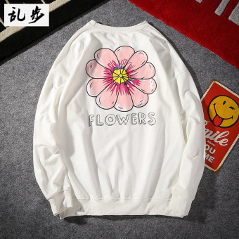BF Japanese-style wind hemp leaf printed round neck long-sleeved t-shirt (108 hoodie white)