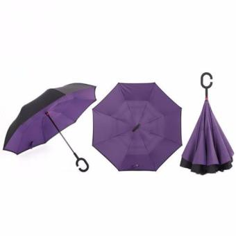 Big Double Layer Reverse Folding RustProof Inverted WindproofUmbrella (VIOLET)