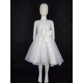 Big Joy 564022 Girl's White First Communion Dress with Satin Bow