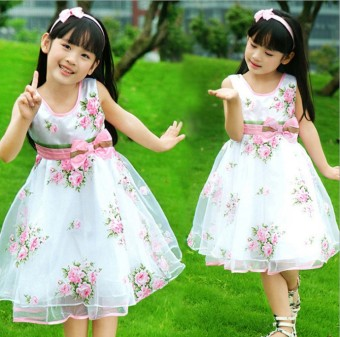 Big kid New style girls summer puffy skirt dress