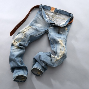 Big Size 28-40 Mens Fashion Ripped Jeans Cotton straight casual Denim Trousers Slim fit Pencil pants - Light Blue - intl - 2