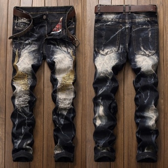 Big Size 29-42 Men Jeans Ripped Slim Fit Hip Hop Denim Trousers Holes Men`s Jeans High Quality Motorcycle Pants Punk Homme Embroidery - Black - intl
