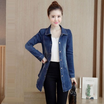 BIGCAT Korean style women long sleeve long denim jacket fashion coat - intl