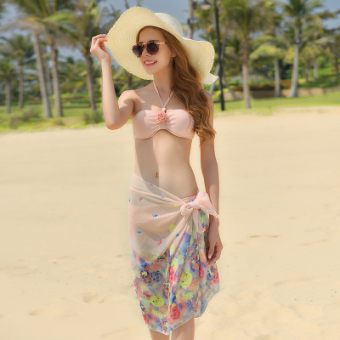 Bikini bikini steel prop gather split skirt three-piece bathing suit swimsuit (3618 Lotus pink veil)
