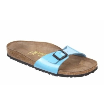 Birkenstock Women Madrid Birko-Flor Lack Flat Slippers (Mint Blue)