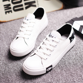 Black ball shoes Korean-style plain weave shoes (White) (White)