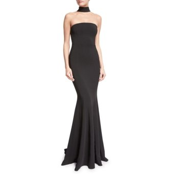 Black Fishtail Gown Hanging Neck Long Dress - intl