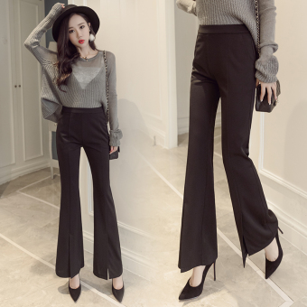 Black high-waisted boot-cut suit pants Bell-Bottom pants
