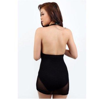 Black Sexy Party Deep V Neck One Piece Swimsuit Swimwear - 5