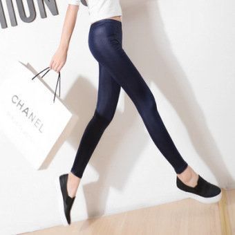 Black Spring and Autumn outerwear thin ankle-length pants leather pants (Wei blue)