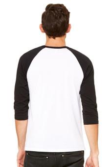BLKSHP Contrast 3/4 Sleeve Baseball Tee (White/Black) - 3