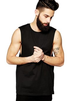 BLKSHP Dropped Armholes Sleeveless T-Shirt (Black)