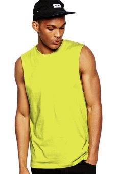 BLKSHP Dropped Armholes Sleeveless T-Shirt in Neon Green