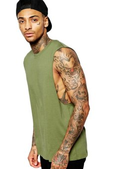 BLKSHP Dropped Armholes Sleeveless T-Shirt (Military Green)