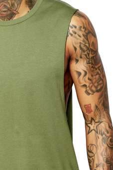 BLKSHP Dropped Armholes Sleeveless T-Shirt (Military Green) - 3