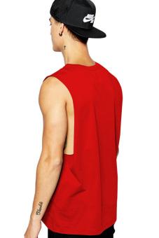 BLKSHP Dropped Armholes Sleeveless T-Shirt (Red) - 2
