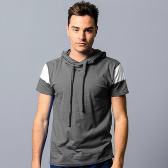 BLKSHP Hooded T-Shirt with White Contrast Sleeves (Charcoal)