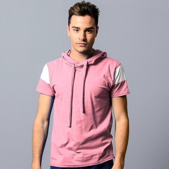 BLKSHP Hooded T-Shirt with White Contrast Sleeves (Light Pink)