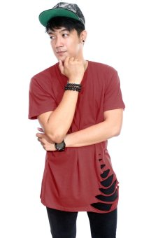 BLKSHP Oversized Softstyle Longline Tee with Distress Hem (Maroon)