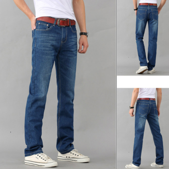 Blue casual Korean-style men Slim fit feet pants autumn jeans (Blue)