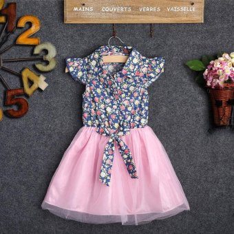 Blue Floral and Tulle Kids Girls Short Sleeve Dress for Children 2-7Years - intl