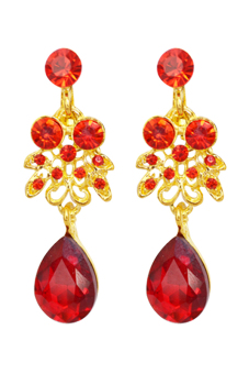 Blue lans Bridal Alloy Necklace Earrings Set (Red/Gold) - picture 2