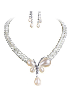 Blue lans Pearl Jewellery Set (White) - picture 2