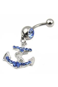 Blue lans Rhinestone Anchor Barbell (Blue)