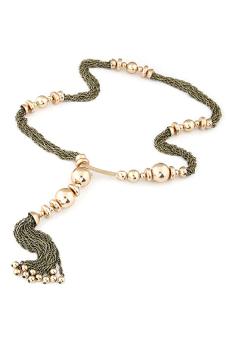 Blue lans Twisted Tassels Necklace (Beige)