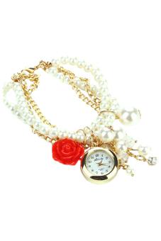 Blue lans Women's Red Faux Pearl Watch