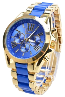 Bluelans(R) Blue Stainless Steel Band Watch (Blue)
