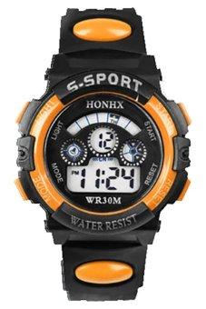BlueLans Date Alarm Stopwatch Led Digital Rubber Watch Orange