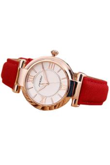 Bluelans Faux Leather Quartz Wrist Watch (Red) - picture 2