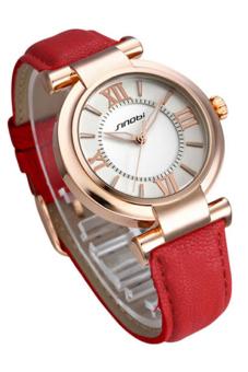 Bluelans Faux Leather Quartz Wrist Watch (Red)