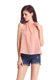 Bluelans(R) Women Tops Blouse Strapless Sleeveless Chiffon Casual Shirt Gift Pink Price Philippines
