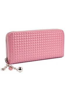 Bluelans® Women Zip PU Leather Clutch Case Wallet Purse (Pink)