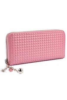 Bluelans® Women Zip PU Leather Clutch Case Wallet Purse (Pink)