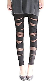 Bluelans® Women's Sexy Ripped Tights Cut-out Bandage Black Leggings