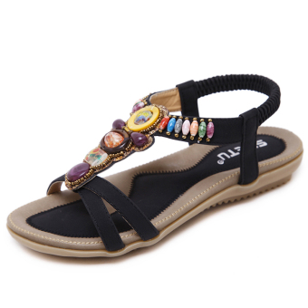 Bohemian beaded bracelet female flat Plus-sized women's shoes sandals (Black)
