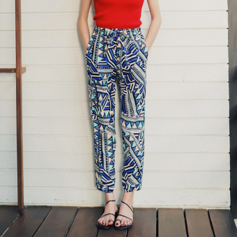 Bohemian chiffon Fine Digital printed pants beach shorts